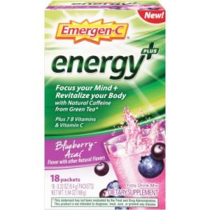 Emergen-C Energy Plus Packets, Blueberry-Acai, 18 Ct