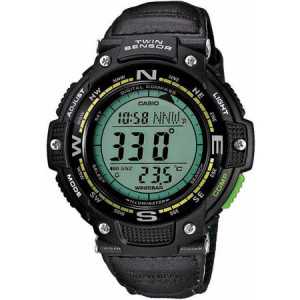 Casio Men's Twin Sensor Compass Watch, Green Nylon Strap
