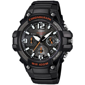 Casio Men's Rugged Chronograph Watch, Black/Red