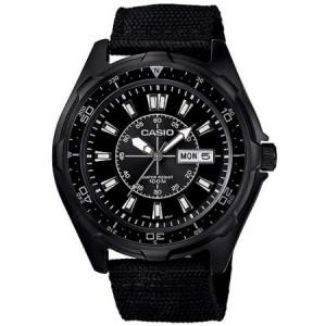 Casio Men's Dive Style Stainless Steel Watch, Black Nylon Strap