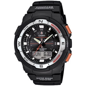 Casio Men's Twin Sensor Watch With Thermometer and Compass, Black Resin Strap