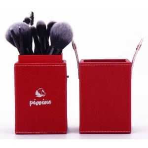 14-pc Premium Synthetic Bristles Makeup Brush Set with Designer Case, Red