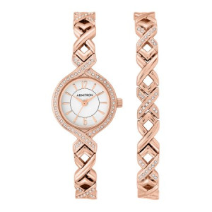 Armitron Women's Dress Round Watch Set, Rose Gold Bracelet