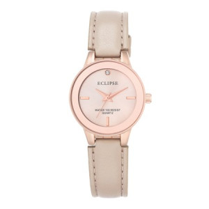Eclipse Women's Round Casual Watch with Blush Leather Band