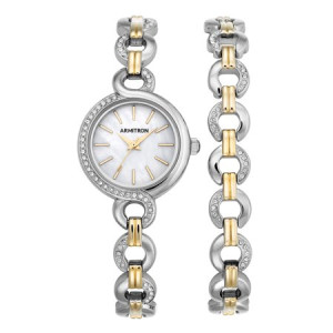 Armitron Women's Round Dress Watch, Two-Tone Bracelet Set