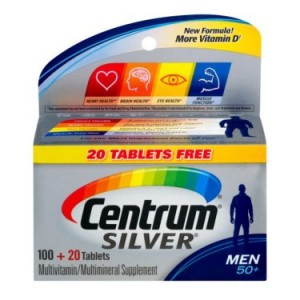 Centrum Silver Men 50+ Multivitamin Tablets, 120 Ct BONUS