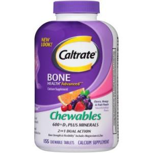 Caltrate Bone Health Advanced 600+D3 plus Minerals Multi-Flavor Calcium Chewables, 155 Ct