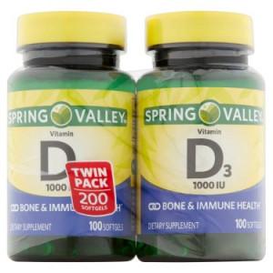Spring Valley Vitamin D3 Softgels, 1000 IU, 100 Ct, 2 Pk
