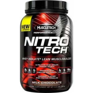 Muscletech Nitro Tech Whey Isolate Protein Powder, Milk Chocolate, 30g Protein, 2 Lb