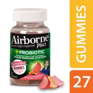 Airborne Plus Probiotic Gummies, 27 count - 1000mg of Vitamin C - Immune Support Supplement