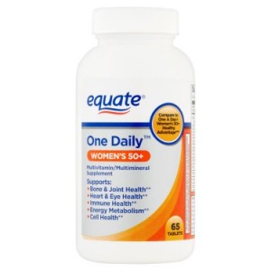 Equate Women's 50+ One Daily Multivitamin/Multimineral Supplement Tablets, 65 Ct