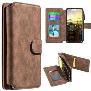 MUNDAZE Brown Storage Luxury Wallet Case For Apple iPhone X Phone