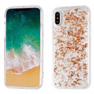 MUNDAZE Rose Gold Glitter Flakes Case For Apple iPhone X
