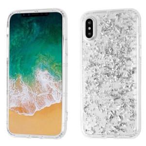 MUNDAZE Silver Glitter Flakes Case For Apple iPhone X