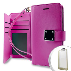 MUNDAZE Pink Storage Faux Leather Wallet Case For LG Stylo 3 Phone