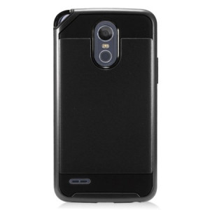 MUNDAZE Black Brushed Metal Double Layered Case For LG Stylo 3 PLUS Phone