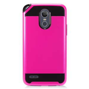 MUNDAZE Hot Pink Brushed Metal Double Layered Case For LG Stylo 3 PLUS Phone