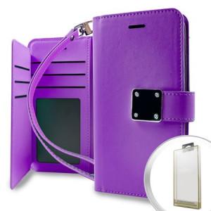 MUNDAZE Purple Storage Faux Leather Wallet Case For LG K10 2017 / LV5 Phone