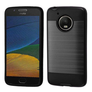 Black Brushed Metal Double Layered Case For Motorola Moto E4 Phone