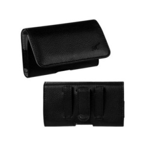 MUNDAZE Black Leather Belt Clip Pouch Carrying Case for Apple iPhone 8