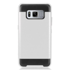 Silver Brushed Metal Double Layered Case For Samsung Galaxy S8 ACTIVE Phone