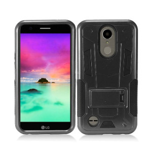 Black Contempo Tech Stand Case For LG K20 Plus / Harmony Phone