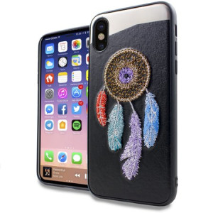 Rainbow Dreamcatcher Embroidery Texture Case For Apple iPhone X Phone