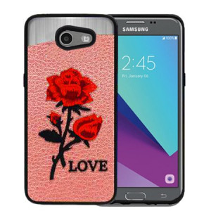 Red Love Roses Pink Embroidery Texture Case For Samsung Galaxy J3 Emerge Phone