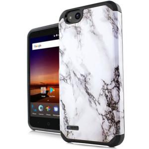 MUNDAZE White Grey Marble Design Duo Case For ZTE Tempo X / Blade Vantage Phone