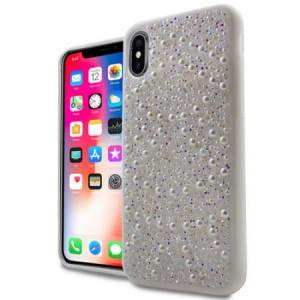 MUNDAZE Silver Luxury Pearls Diamond Case For Apple iPhone X Phone