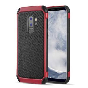 Mundaze Samsung Galaxy S9 Tough Anti-Shock Carbon Fiber Texture Phone Case, Red