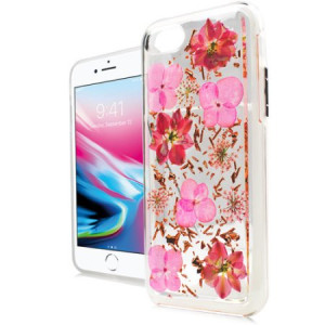 MUNDAZE Pink Spring Flower Power Glitter Flakes Case For Apple iPhone 8 PLUS / iPhone 7 PLUS Phone