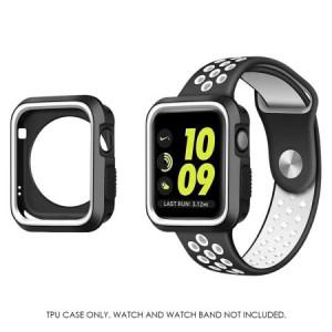 MUNDAZE Black White Premium Duo Color Flexible TPU Case For Apple iWatch 2 / 3 42MM
