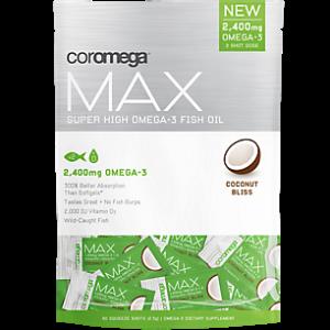 Coromega Max Super High Omega-3 Fish Oil, Coconut Bliss Flavor, 60ct