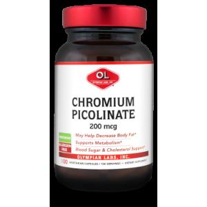 Olympian Labs Chromium Picolinate 200 mcg Vegetarian Capsules, 100 count