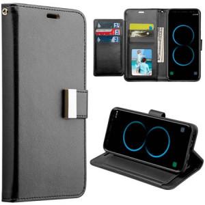 Mundaze Storage Faux Leather Wallet Case for Samsung Galaxy S8 Plus, Black