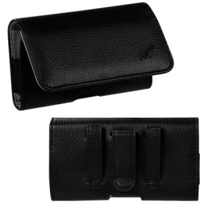 MUNDAZE Black Leather Belt Clip Pouch Carrying Case For Samsung Galaxy J3 Emerge J3 2017 J3 Luna Pro Phone