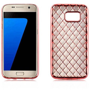 Mundaze Pink Rose Gold Quilted Pattern Skin Phone Case Cover for Samsung Galaxy S7 edge