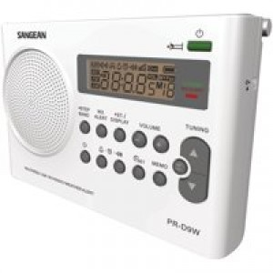 Sangean PR-D9W Portable AM/FM/NOAA Alert Radio with Rechargeable Battery