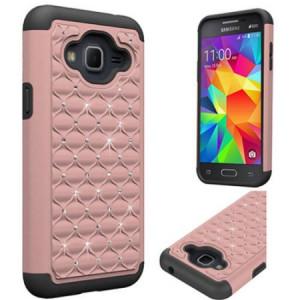 Mundaze Rose Gold Diamond Double Layered Case for Samsung Galaxy J3