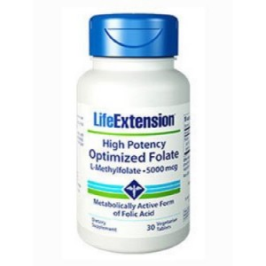 Life extension high potency optimized folate 5000 mcg vegetarian tablets, 30 ct