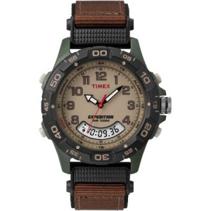 Timex Men's Expedition Combo Watch, Brown Nylon Strap