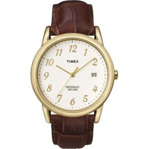 Timex Men's Easy Reader Watch, Brown Croco Pattern Leather Strap