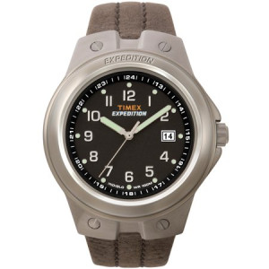 Timex Men's Expedition Metal Tech Watch, Brown Leather Strap