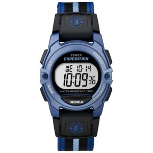 Timex Unisex Expedition Digital CAT Mid-Size Watch, Blue Stripe Nylon Strap