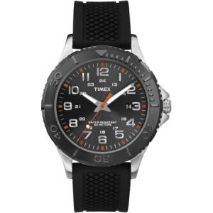 Timex Men's Taft Street Watch, Black Silicone Strap