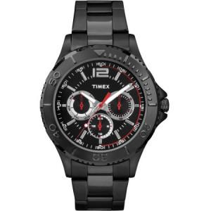 Timex Men's Taft Street Multifunction Watch, Black Stainless Steel Bracelet