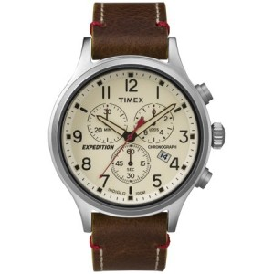 Timex Men's Expedition Scout Chrono Watch, Brown Leather Slip-Thru Strap