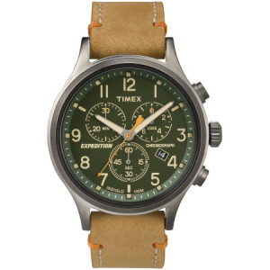 Timex Men's Expedition Scout Chrono Watch, Tan Leather Slip-Thru Strap