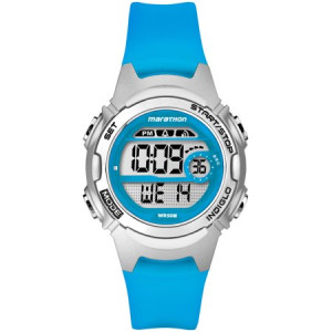 Marathon by Timex Women's Digital Mid-Size Watch, Translucent Blue Resin Strap